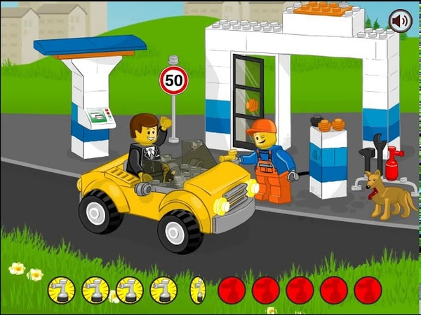 Машинки на автозаправке Мультик из серии Lego