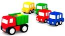 Equipe de resgate. 4 carros coloridos. Animação infantil.