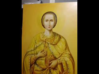 процесс написания иконы Св. Пантелеймон