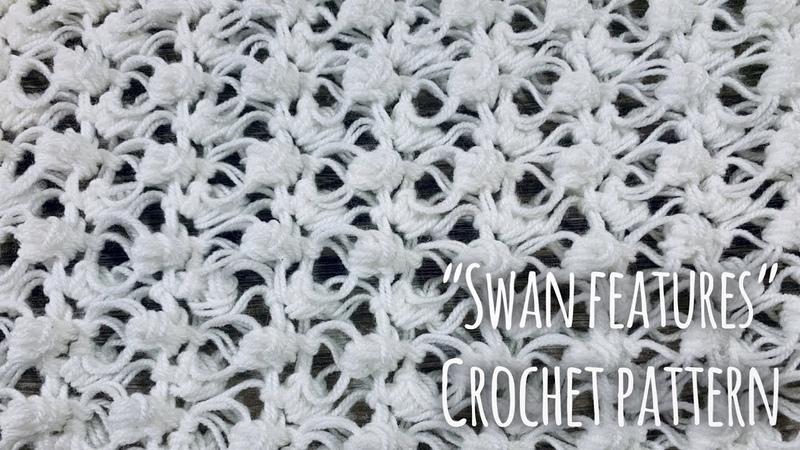 Как связать простой УЗОР КРЮЧКОМ Swan Feathers СХЕМА узора Crochet Pattern Tutorial