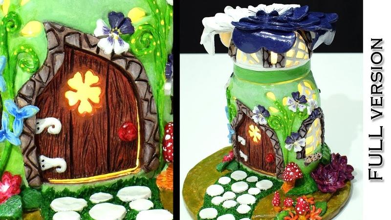 DIY Fairy Garden House Lamp using Nutella Jar | FULL Version | | Paper Clay Tutorial