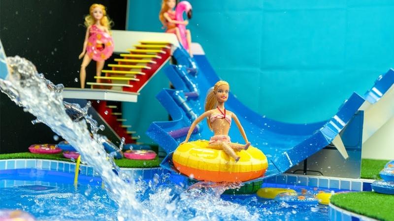 Miniature swimming pool DIY ~ Water SLIDE Barbie Elsa and Anna dolls pool party