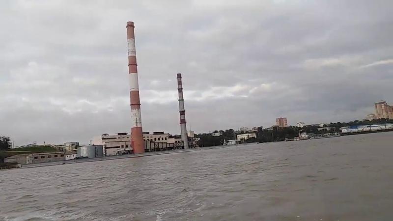Большая вода в Хабаровске! Вид на город из окна прогулочного парохода. Амур август 2019