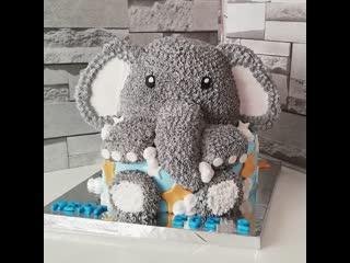 """Как декорировать торт в виде Слона. Торт Слон. / Наша группа в ВК: """"Торты на заказ. мировые шедевры""""."""