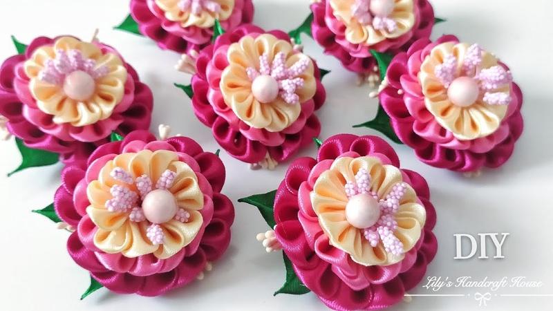 DIY handmade kanzashi hair scrunchy 🌺🌺:Lily's Handcraft House