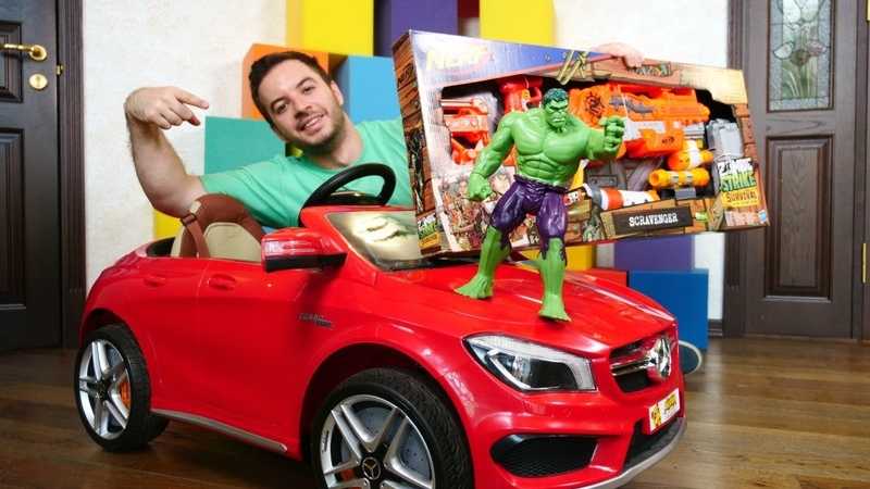 Araba oyunları. Nerf almak için araba yıkama servisi açtık. Hulk ve Tobot arabaları