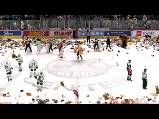 Hershey Bears fans took part in the Teddy Bear Toss during tonights game