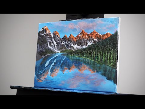 Painting A Landscape with Mountains Reflecting on the Lake | Paint with Ryan