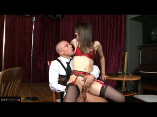 Mick blue & sasha grey [ premium &  brunettes / the dress , curly , cumshot in mouth , on a rider]