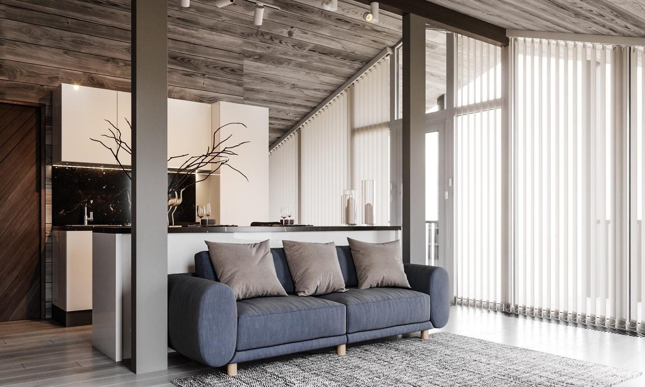 Дизайн загородного дома для зимнего отдыха.