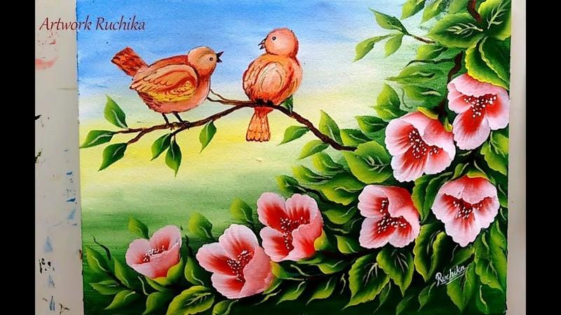Cute Bird Painting | One Stroke Flower Painting | Acrylic Painting Tutorial