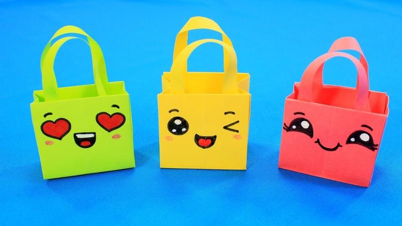 Кавайные сумочки из бумаги Веселый пакетик для подарка Origami Gift Bags How To Make Paper Bags