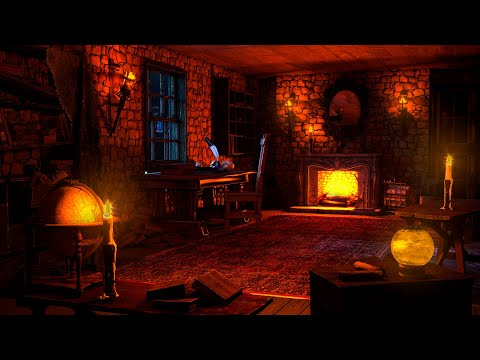 Medieval Room Ambience Relaxing With Gentle Rain Sounds and Warm Fireplace