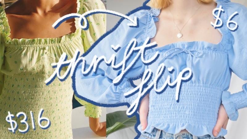 THRIFT FLIP Urban Outfitters inspired DIY top OP SHOP CHOP ep 3 part 1 ft halfsoybean