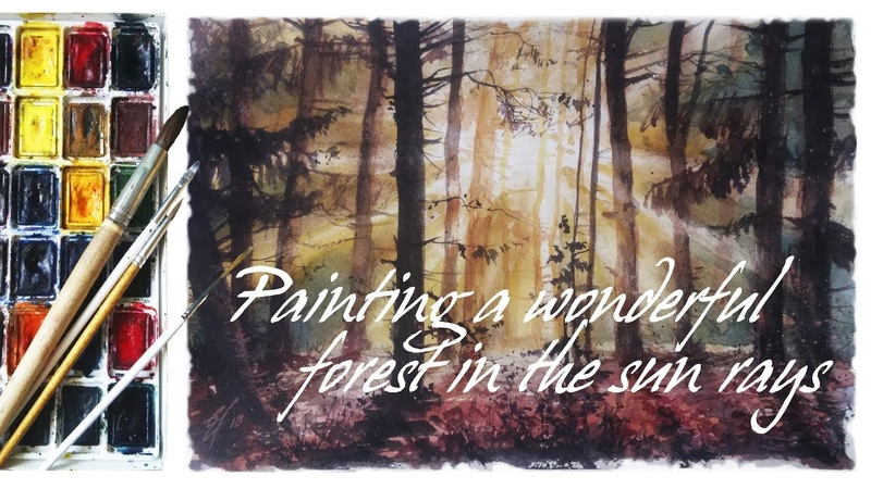 Watercolor Realism Painting a wonderful forest in the sun rays