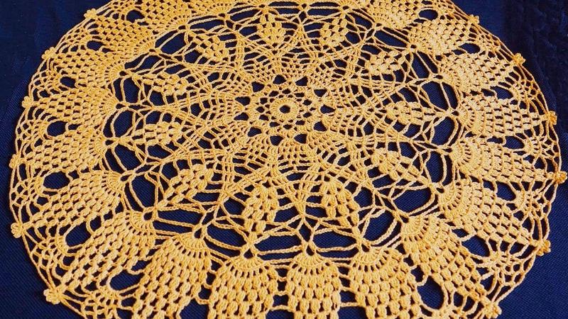 Салфетка крючком по схеме. Вязание салфетки. Ажурная салфетка. Часть 4. (Crochet napkin. P. 4)