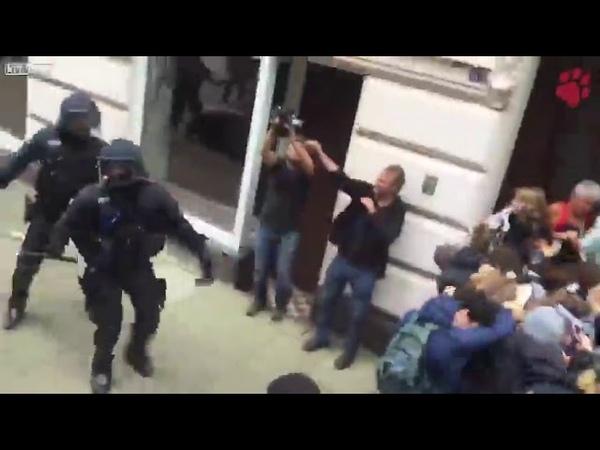 Разгон митинга,наслаждайтесь как полиция Германии разгоняет несанкционированный митинг!