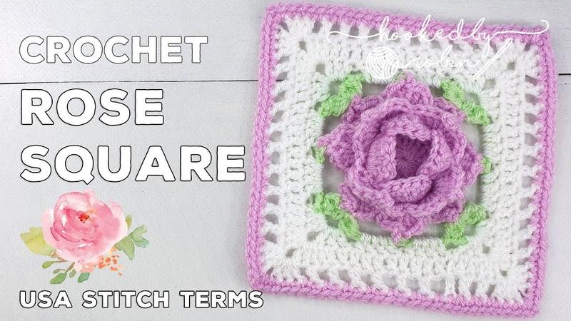 Crochet Rose Square 🌹 Unicorn Dreams Blanket CAL Crochet Square Tutorial