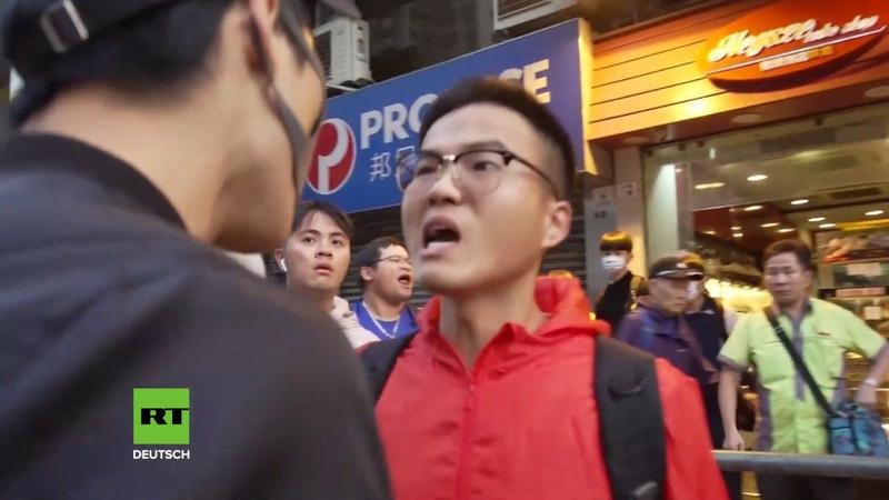 Hongkong Wütende Pendler konfrontieren randalierende Regierungsgegner