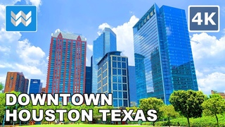 Walking tour of Downtown Houston in Texas, USA 2020 Travel Guide 🎧  Binaural City Sound【4K】