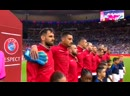 The confused faces on the Albania players when they realise it's the wrong national anthem