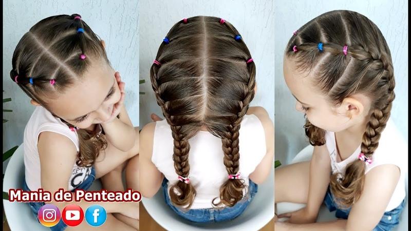 Penteado Infantil com ligas e tranças embutida Easy hairstyle with rubber band and braid for girls