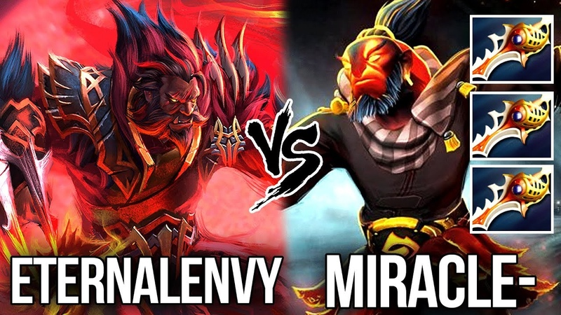 Miracle vs EternaLEnVy 9k Megacreeps Defense with 3x Rapiers Dota 2
