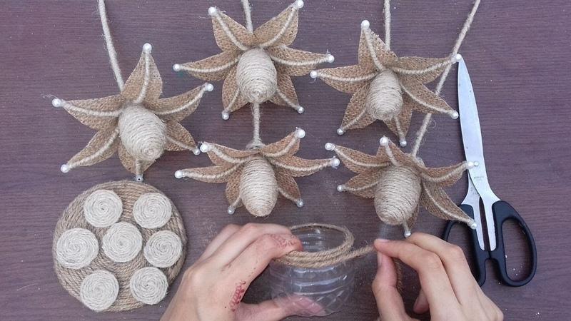 DIY Flower And Flower Vase With Jute Burlap    Best Out Waste Burlap Jute Plastic Bottle Craft