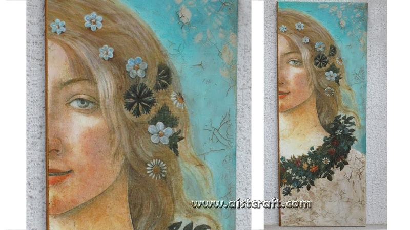 Decoupage and crackle on canvas tutorial Primavera