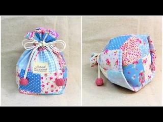 巾着袋の作り方 裏地付き 隠しマチ付き How to make a drawstring pouch / diy kawaii pouch  可愛い巾着ポ