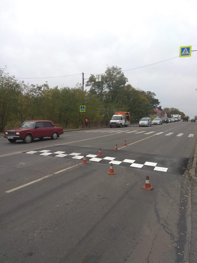 На дороге около Моковской школы под Курском установили «лежачие полицейские» и знаки «Ограничение скорости»