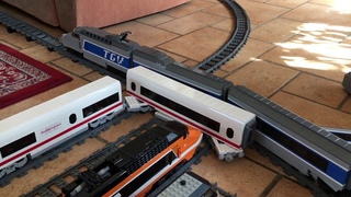 LEGO TGV and ICE 2 high speed 90° crossing crash