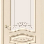 Межкомнатная дверь «Леона Деко» из шпона (Ваниль) с худ. стеклом