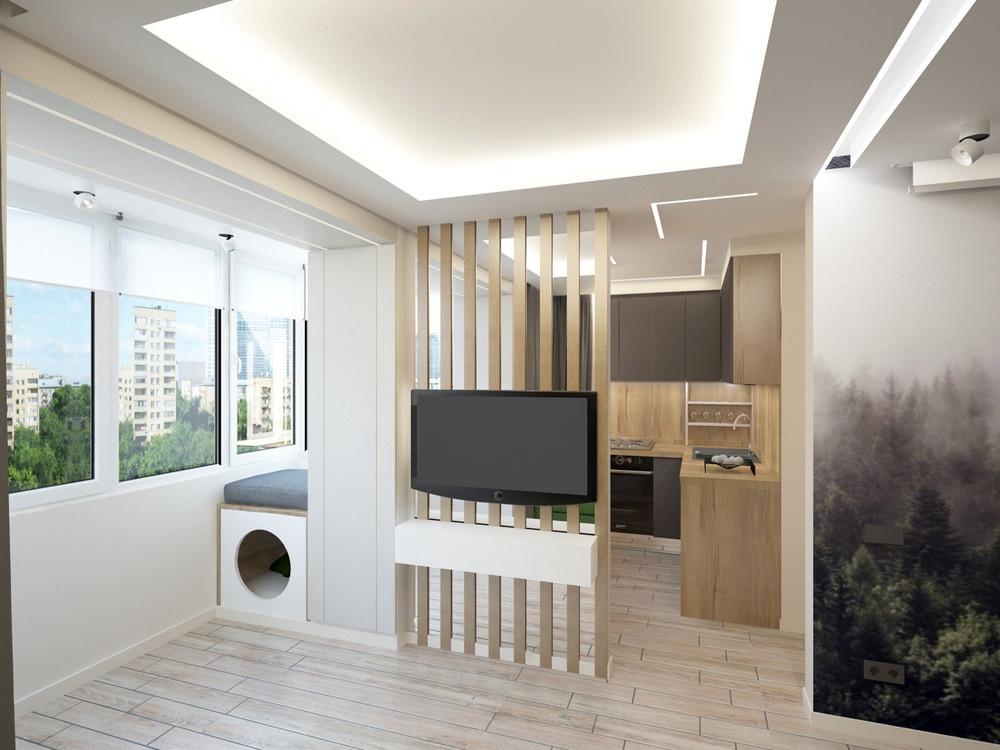Проект квартиры 33 м с присоединенной лоджией.