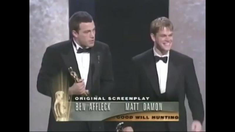 Ben Affleck and Matt Damon winning an Oscar for writing Good Will Hunting , 1997