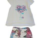 Комплект летний для девочки (футболка,шорты) кремовый