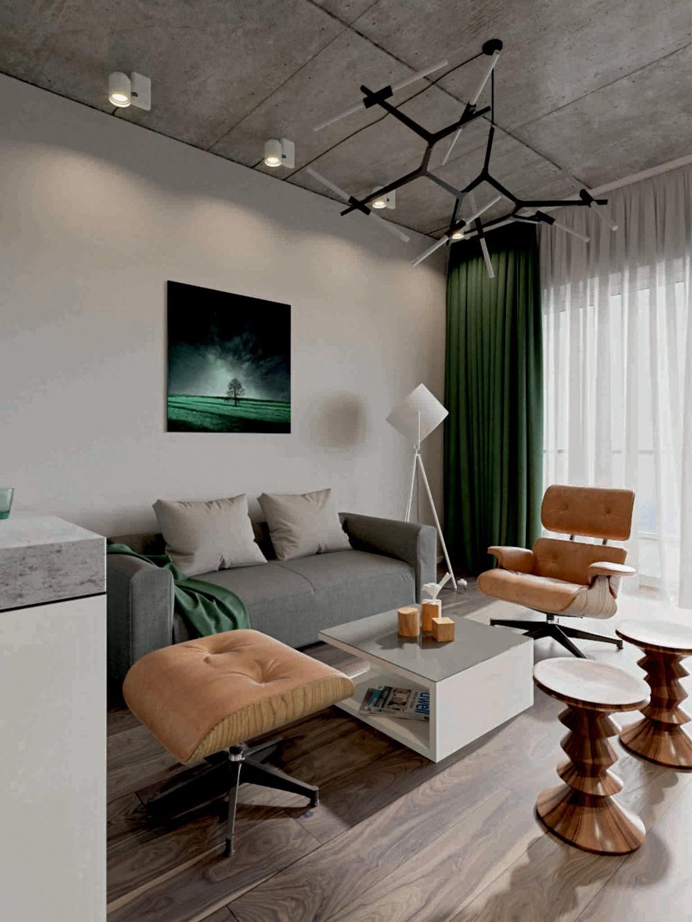 Проект курортной студии со спальней на втором уровне.