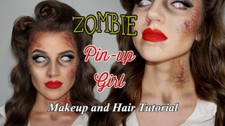 ZOMBIE PIN-UP GIRL HALLOWEEN MAKEUP AND HAIR TUTORIAL / GRWM (HOW TO DO BRUISE MAKEUP)