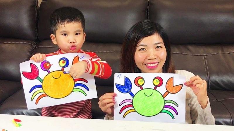 Belajar Rainbow Crab Menggambar dan mewarnai Mainan Rainbow Crab pelangi untuk anak anak