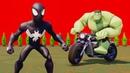 Мультики про машинки для детей Супергерои Человек-паук Веном Халк весёлые гонки на мотоцикле