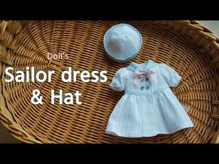 인형옷만들기 마린원피스와 모자 / sewing tutorial : Sailor dress & hat / Paola reina blythe