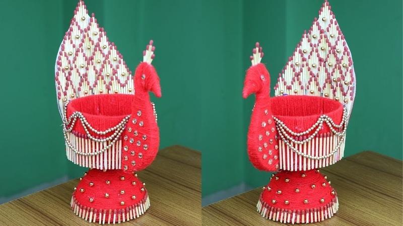 Amazing Peacock Design Showpiece With Plastic Bottle Showpiece Making Idea Woolen art and craft
