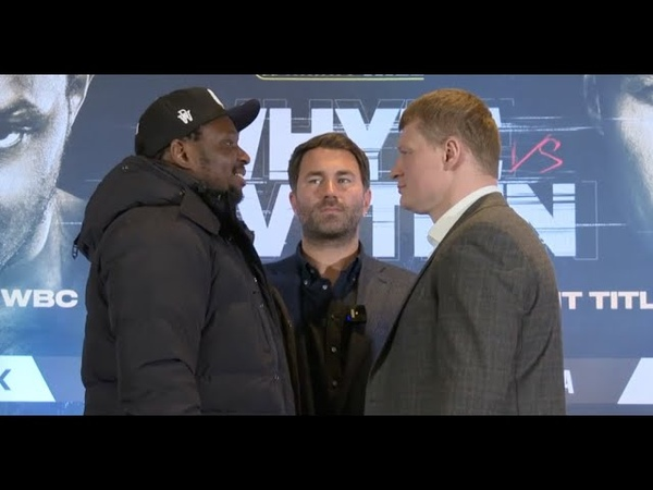DILLIAN WHYTE LAUGHS IN THE FACE OF ALEXANDER POVETKIN AS PAIR COME HEAD TO HEAD IN MANCHESTER