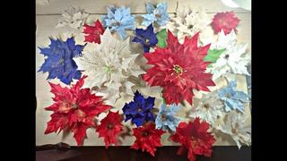 Рождественские цветы из ткани своими руками/Пуансеттия/Новогодний декор