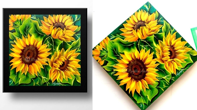 Acrylic painting step by step sunflower painting tutorial painting on wood panel
