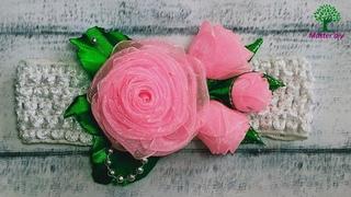 Роза из органзы Повязка на голову с букетиком роз\Master diy МК канзаши