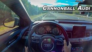 26 hours 29 Minutes Cannonball Car - 2017 Audi S8 Plus POV (Binaural Audio)